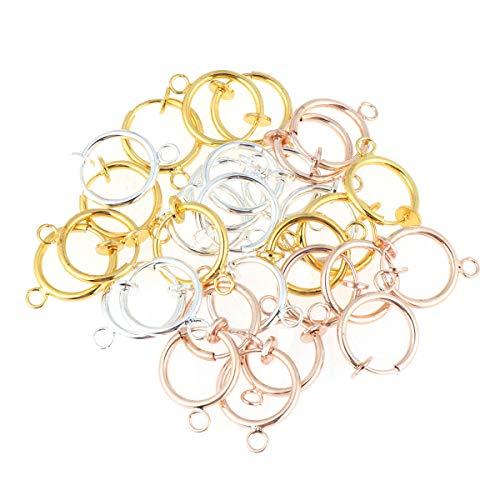 Supvox 30PCS Convertitori di orecchini a clip con anello aperto facile, orecchini non perforanti Gancio per orecchini per donne fai-da-te Argento dorato Oro rosa