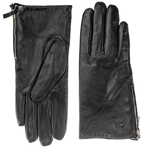 Berydale Damen Lederhandschuhe mit Reißverschluß, Gr. Large, Schwarz