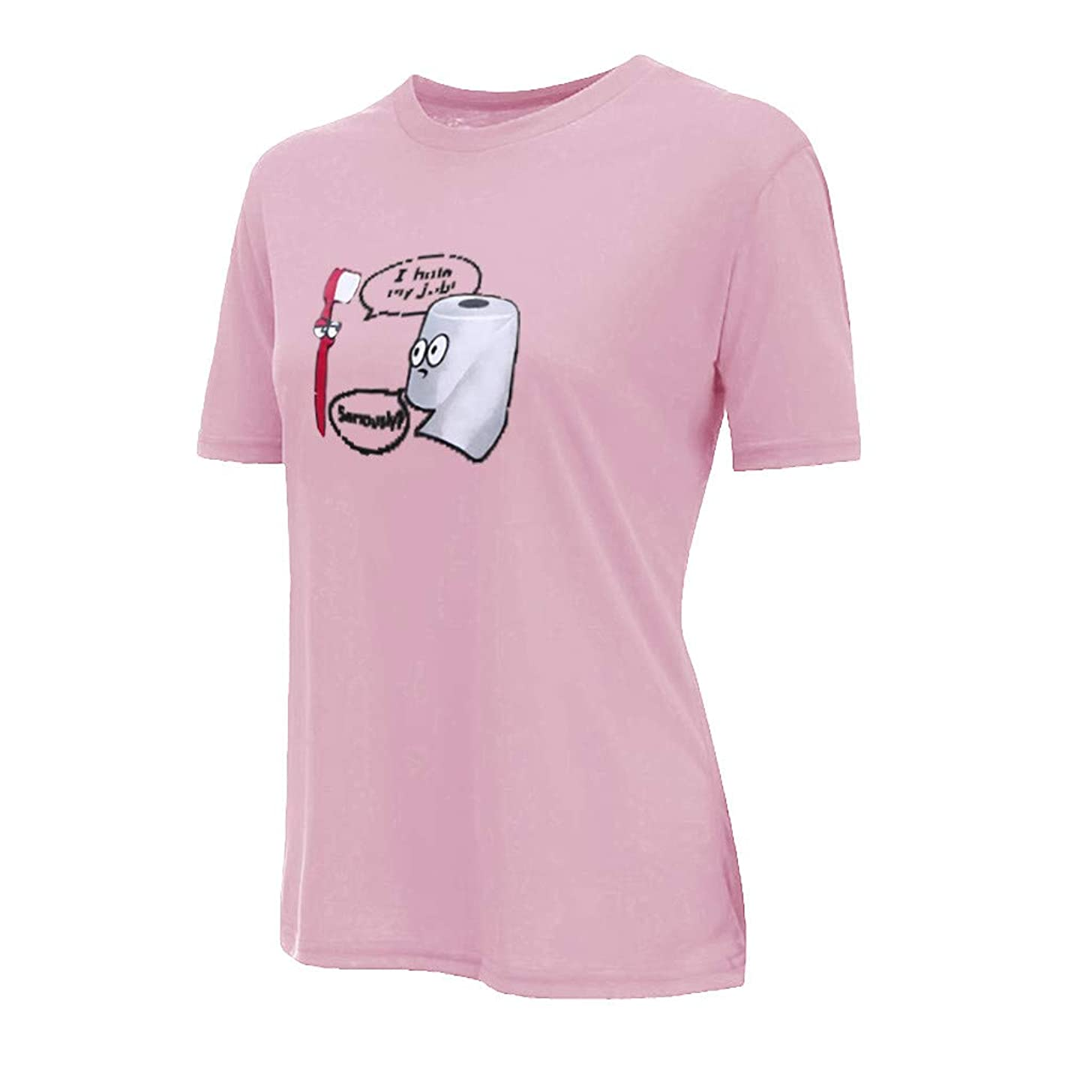 HimTak Women's o-Neck Letter t-Shirt i Hate My Job New Joker Cartoon Print Short Sleeve Loose Comfort Top