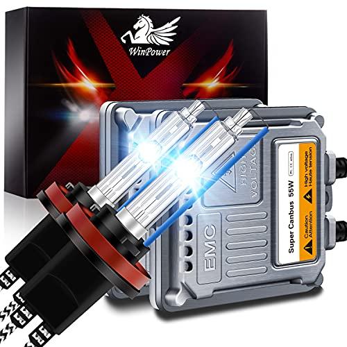 WinPower H11 H8 H9 Kit Conversión Faros Delanteros Bombilla Xenón 55 W con Decodificador CANBus HID Lastre 8000K Azul Hielo Alto Brillo Haz alto/Haz bajo, 2 Piezas