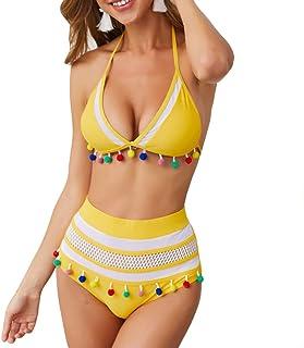 81b48f63e9 Vertvie Maillot de Bain 2 Pieces Femme Plage Bohémien Halter Bikini Set  avec Franges Col V