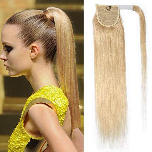 TESS | Paardenstaart | Echt haar | Clip-in extensions | 55cm | #613 | Blond
