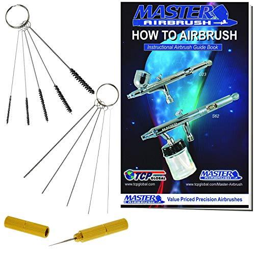 Master Airbrush 12 Piece Airbrush Cleaning Kit - 5 pc Cleaning Needles, 5 pc Cleaning Brushes, & 1 Wash Needle