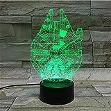 Luz De Ilusión 3D, Luz De Noche De Nave Espacial De Star Wars, Lámpara Led 3D, Lámpara De Humor, Lámpara Decorativa, Luz Nocturna Para Niños, Regalos De Juegos, Tacto