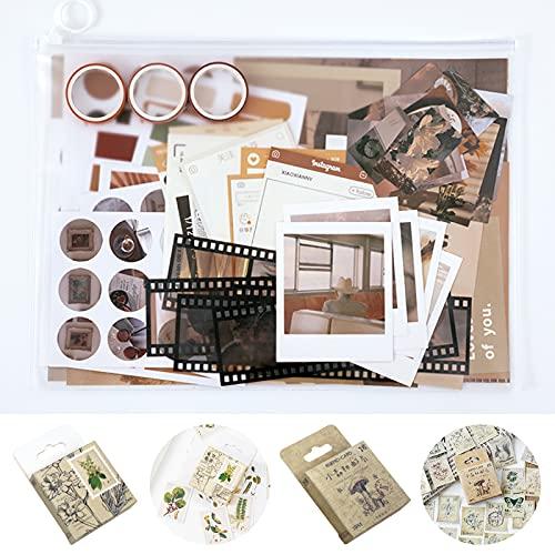 155Pcs Scrapbooking Materials Sticker Washi Tape Set, FODIENS Sunset and Green Plant DIY Decoration, Vintage Journaling Supplies for Art Hand Craft Planner Album Bullet Journal Card (A)