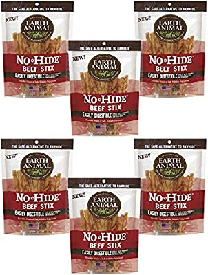 Earth Animal 6 Pack of No-Hide Stix, 10 Count Each, Beef, Rawhide Alternative Treats Made in The USA