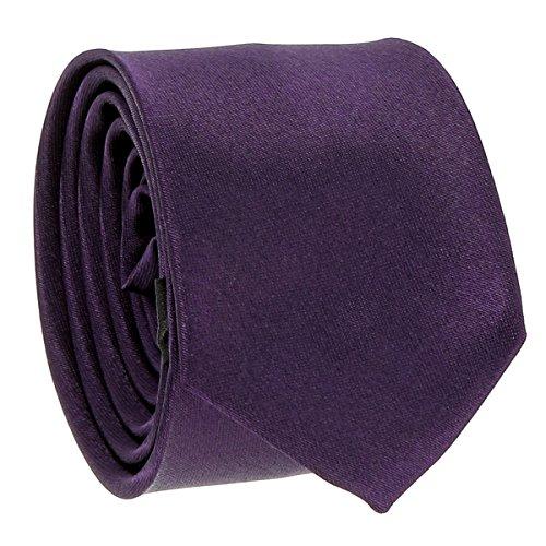 Cravate Fine Violette - Cravate Homme Coupe Slim Moderne - 5cm à la Pointe - Couleur Unie - Accessoire Chemise pour Mariage, Cérémonie