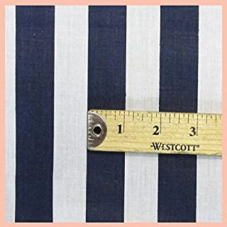Stripe 1 inch Poly Cotton Fabric 58 inches width sold by the yard Navy Blue/White