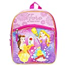 Disney Princess Toddler Girls Backpack with Belle, Ariel and Rapunzel, 12 Inch