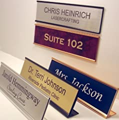 2x8 name plate with holder Choose holder color: silver, gold, or black Choose holder style: wall mount or desk top Choose from 12 colors: see picture for choices Choose font: see font picture or request your own