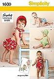 Simplicity Schnittmuster 1600 für Babys und Kleinkinder, Vintage-Stil, Strampler, Bikini, Höschen und Motorhaube