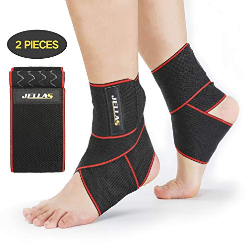 Jellas 2 Pcs Sprunggelenk Bandage, Bandage für achillessehne, Knöchelbandage, Fußbandage für Damen Herren Kompressionssocken geeignet für Sport Fitness, Gelenkschmerzen, Verstauchungen, Bandschäden