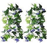KingYH 2 Pieza 210cm Guirnaldas de Flores Artificiale Seda Gloria de la mañana con Hojas Verdes Fake Simulación Enredaderas Planta Colgar Vine Ratán para Decoración Bodas jardín Valla Escaleras-Azul