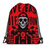 Drawstring Backpack Bags Bikers Event Or Festival Emblem with Skull Folding Cinch Bag Bags