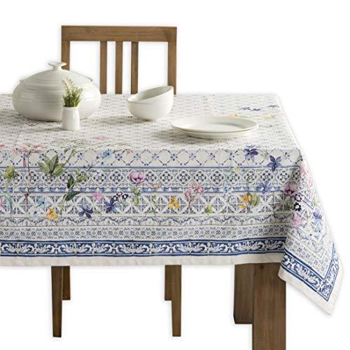 Maison d' Hermine Faience 100% Baumwolle Tischdecke für Küche | Abendessen | Tischplatte | Dekoration Parteien | Hochzeiten | Frühling/Sommer (Rechteck, 140 cm x 180 cm)