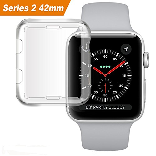 Apple Watch Series 2 Case, MCUK iwatch 2 TPU Screen Protector All-around Protective 0.3mm HD Clear Ultra-thin Bumper Cover for 2016 New Apple Watch Series 2 (For 2016 Apple Watch Series 2 42mm)