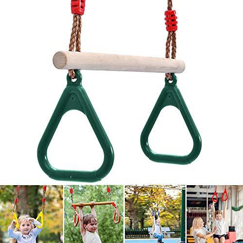 APJJ 2 in 1 Kinder Holz Schaukel, Multifunktions Kinder Holz Trapeze Schaukel 120 Kg Tragfähigkeit Mit Kunststoffring, Swing Rope Verstellbar,Grün
