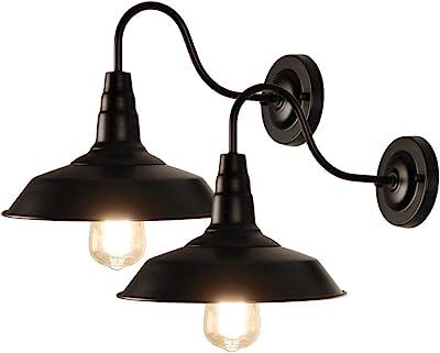 LynPon 2 Pack Lámparas de Pared Industriales, Aplique de pared Vintage Negro, Iluminación Interior Moderna para balcón, escalera, porche, almacén: Amazon.es: Iluminación