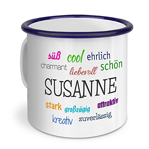 printplanet Emaille-Tasse mit Namen Susanne - Metallbecher mit Design Positive Eigenschaften - Nostalgie-Becher, Camping-Tasse, Blechtasse, Blau