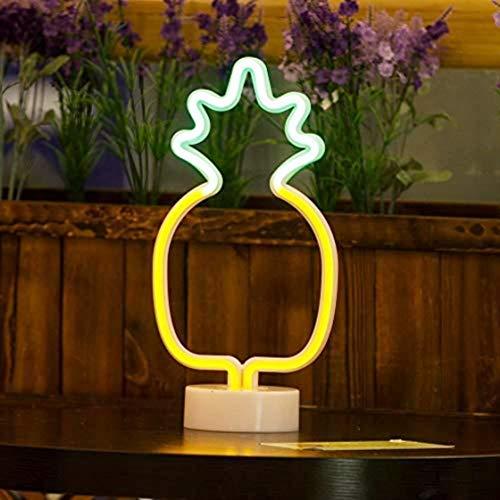 QiaoFei Letreros de neón de piña LED con luz de decoración de Base de Soporte, decoración de Mesa para Navidad, Fiesta de cumpleaños, Sala de niños, decoración de Sala de Estar