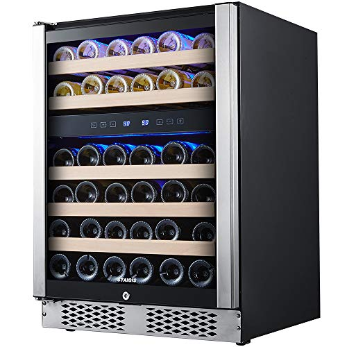 STAIGIS 24 Inch Wine Refrigerator, Under Counter Dual Zone Wine Cooler w/Stainless Steel Frame Glass Door, 46 Bottles Wine Fridge for Built In or Freestanding with Concealed Pull Design