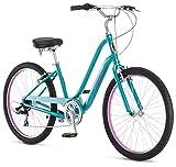Schwinn Sivica 7 Cruiser Bike for Women with 26-Inch Wheels in Teal, 7-Speed Shimano Drivetrain and Aluminum Step-Through Frame