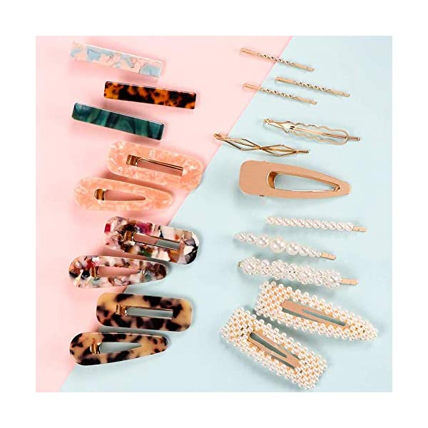 Beauty Shopping SYEENIFY Fashion Hair Clips Set, 20 PCS Pearls Hair Clips Acrylic Resin Hair Barrettes,