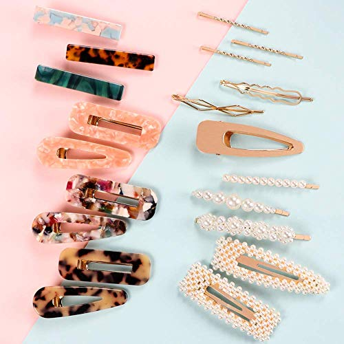 Syeenify Fashion Hair Clips Set, 20 PCS Pearls Hair Clips Acrylic Resin Hair Barrettes, Hollow Geometric Hair Clip Hairpins for Women Girls and Ladies Headwear Styling Tools