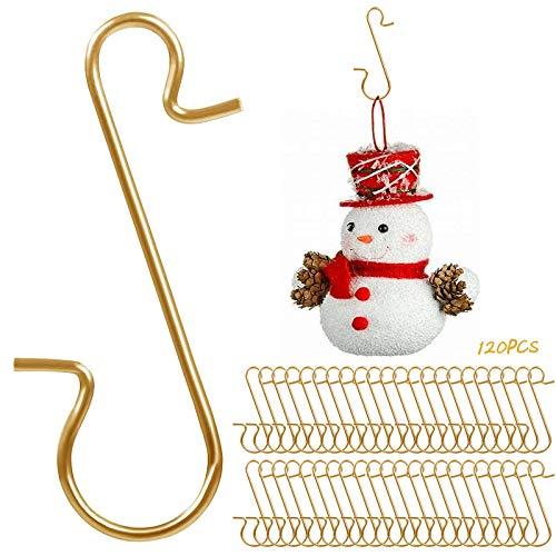 Yisscen 120 Stück Weihnachtsbaum Haken, Wiederverwendbar Edelstahl S Haken Xmas Klein, für Aufhängen von Christbaumkugeln und Andere Christbaumschmuck(Gold)