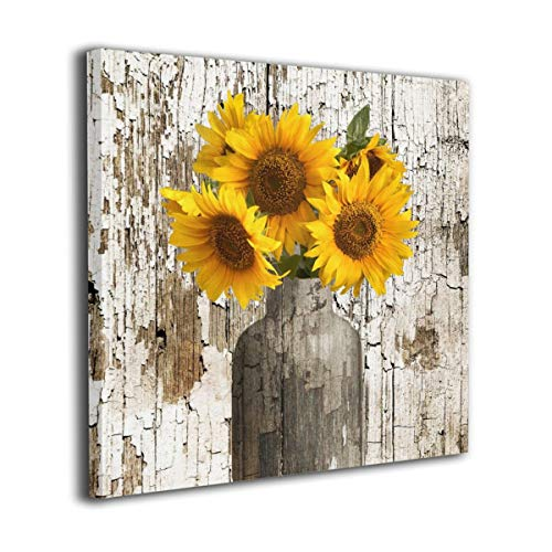 Lureu Rustic Yellow Sunflower in Vase Farmhouse Cottage Countryside 12'x12' Canvas Wall Art Prints,Framed Picture Photo Painting Giclee Artwork,Modern Gallery Home Decor Ready to Hang