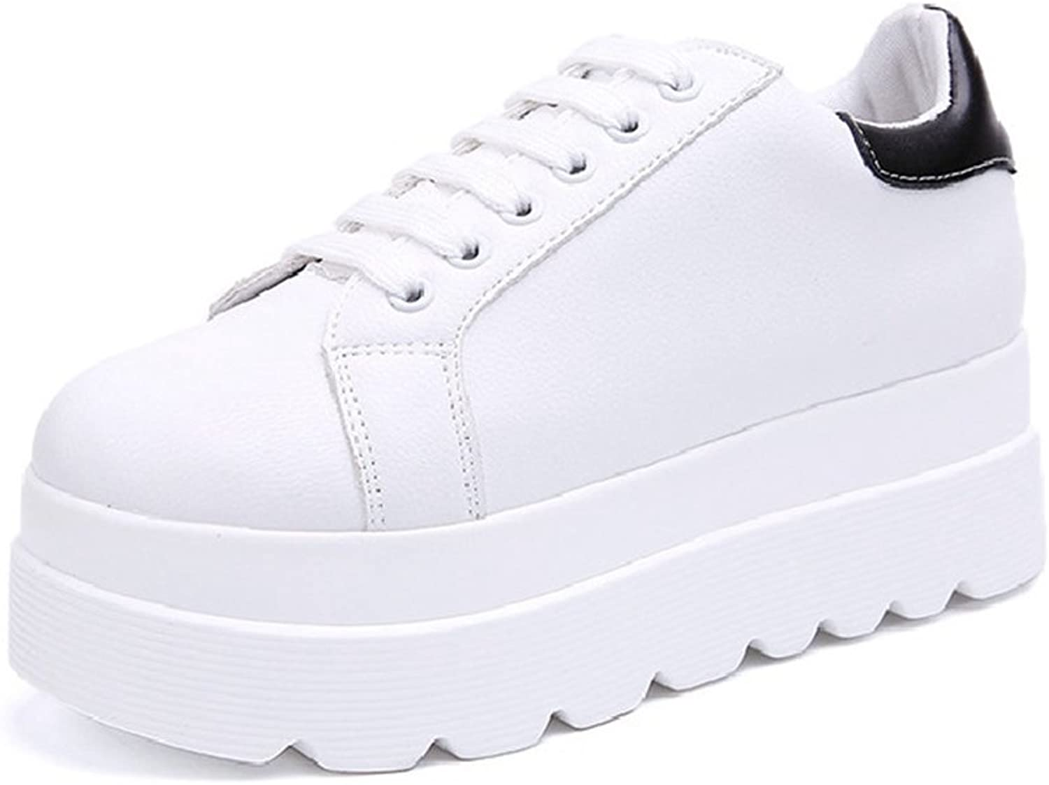 CYBLING Outdoor Casual Low Top White Platform Sneakers for Women Fashion Lace Up Walking shoes