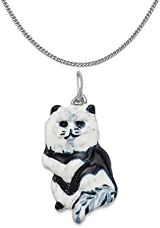 """Sterling Silver Enameled Black and White Cat Charm on a Sterling Silver Chain Necklace, 16""""-20"""""""
