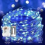 イルミネーションライト 電池式 led ストリングライト クリスマスライト 10メートル 100電球 リモコン付き 室外 装飾 結婚式 パーティー 飾り ライト 正月 (ブルー)