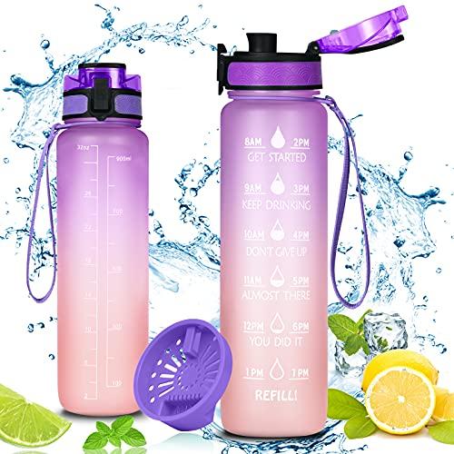 Flintronic Botella de agua para deportes , Drink Bottle a Prueba de Fugas de 1000 ml con Filtro y Marcador de Tiempo, Botella Termica Reutilizable,Color Degradado púrpura Naranja