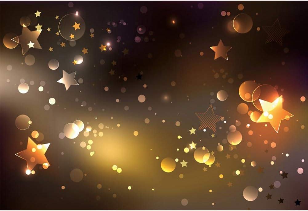 AOFOTO 7x5ft Vinyl Golden Black Backdrop Shining Stars Spots Sparkle Photography Background Happy Birthday Party Children Newborn Baby Shower Wall Banner Wallpaper Decor Photo Studio Props