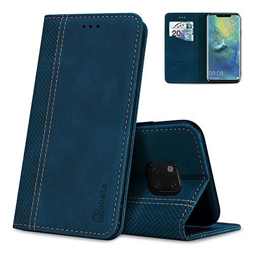 AKABEILA Huawei Mate 20 Pro Hülle Leder, Huawei Mate 20 Pro Handyhülle Silikon, Kompatibel für Huawei Mate 20 Pro Schutzhülle Brieftasche Klapphülle PU Magnetverschluss Kartenfächer Hüllen, Blau
