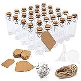Surmounty Juego de 30 mini botellas cristal con corcho, 20 ml, incluye pequeñas cristal, etiqueta, colgante corazón, embudo, cuerda yute, tubo ensayo para especias, hierbas, arena