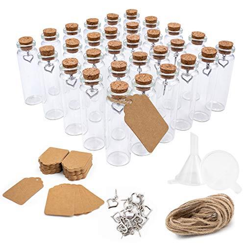 Surmounty Mini Glasflaschen 30Pcs Glasfläschchen mit Korken, 20ml Mini Bottle Set inkl. kleine Glasflaschen, Etikett, Herz Anhänger, Trichter, Juteschnur, Reagenzglas für Gewürze, Kräuter, Sand