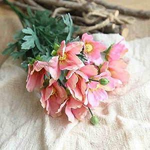 Artificial and Dried Flower 1bouquet Artificial Flowers Cosmos Wedding Decoration Fake Silk Vine Bouquet for Home Hotel Garden Decor Bride Hand Flower – ( Color: Pink )