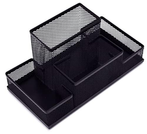 TIENDA EURASIA Organizador de Escritorio Metálico - Portalápices de Malla de Acero Negro Mate - Ideal para organizar el material del escritorio (B - 11 x 21 x 10 cm)