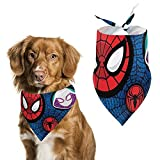 Spiderman Pattern Pet Scarf Dog Bandanas Adjustable Soft Pet Triangle Scarf Suitable for Small or Medium-Sized Cat and Dog Pets Scarf