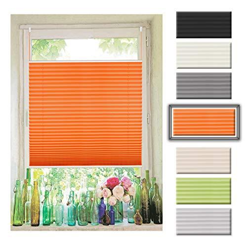 Atlaz Easyfix Plisseerollo ohne Bohren Klemmfix für Fenster 35x130cm (BxH) Orange Plissee Rollo Faltrollo Jalousie Fensterrollo mitKlemmträger für Fenster und Tür