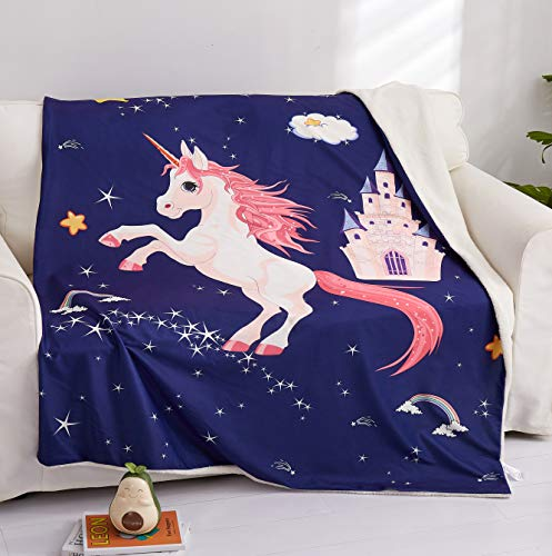 """Kids Unicorn Sherpa Fleece Throw Blanket for Couch Sofa Bed 50""""x 60"""" Cartoon Blanket Throw 3D Printed Lightweight Super Soft Plush Throw for Kids Teens Adults (Royal Blue, Throw)"""