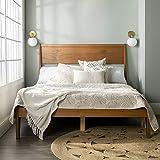 Walker Edison Mid Century Modern Wood Queen Headboard Footboard Platform Bed Frame Bedroom, Caramel