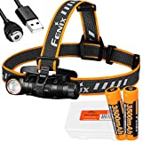 Fenix HM61R 1200 Lumen L-Shape Magnetic Rechargeable Headlamp with White & Red Lights with Extra Battery and LumenTac Battery Case