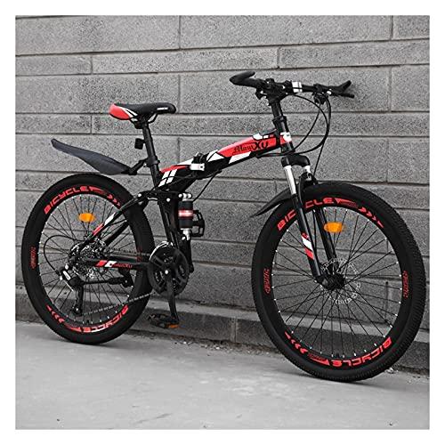 HHGO Bicicleta Plegables para Adultos, Ruedas De 24 Pulgadas, Bicicleta De Montaña, Amortiguador De Acero Al Carbono De 27 Velocidades Variables con Frenos De Disco Doble, para Hombres