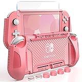 HEYSTOP Carcasa para Nintendo Switch Lite, Funda para Nintendo Switch Lite con Protector de Pantalla para Nintendo Switch Lite Console y Grips con Agarres para el Pulgar - Rosa