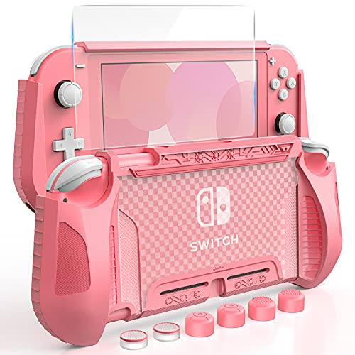 HEYSTOP Case Compatible with Nintendo Switch Lite, with Tempered Glass Screen Protector and 6 Thumb Grip, TPU Protective Cover for Switch Lite with Anti-Scratch/Anti-Dust (Pink)