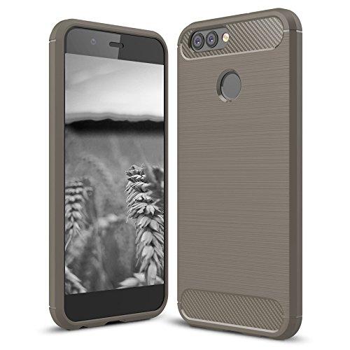 MYCASE Schutzhülle Handy Hülle für Huawei Nova Plus 2 | GRAU | Carbonfibre Cover Handyhülle | TPU Silikon Weich Tasche | Armor Schutz Hülle Leicht