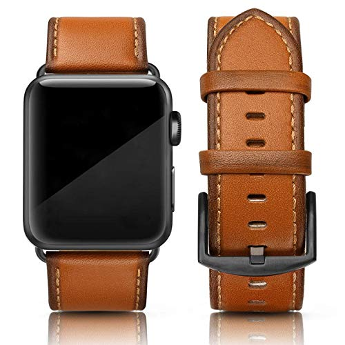 SWEES Leather Band Compatible for Apple Watch 42mm 44mm, Genuine Leather Retro Vintage Wristband Compatible iWatch Series 5, Series 4, Series 3, Series 2, Series 1, Sports & Edition Men, Orange